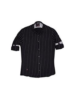 Cosplay Slim Büyük Beden Dar Kalıp Flam İnce Çizgili Katlama Kollu Slim Fit Gömlek